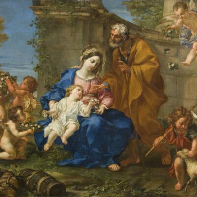 Riposo durante la fuga in Egitto, Pier Leone Ghezzi, Galleria Mossini, Mantova